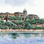 A Vár látképe - Budapest akvarell