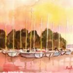 Balatoni kikötő - Balatoni akvarell