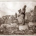 Biznaga árus szobra