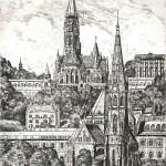 Budai látkép - Budapesti rézkarc