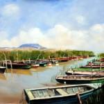 Balatoni csónakkikötő - Tájkép