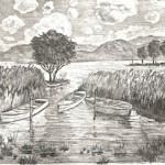 Csónakkikötő - Balatoni rézkarc