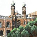 Dohány utcai zsinagóga - Budapest akvarell