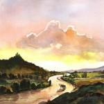 Folyókanyar - Akvarell