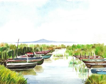 Horgászkikötő - Balatoni akvarell