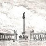 Hősök tere - Budapesti rézkarc
