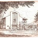 Vecsés - Iskola utcai templom - rézkarc