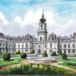 A keszthelyi Festetics-kastély - Balatoni akvarell