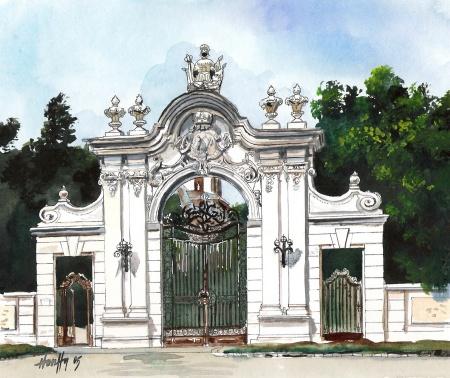 A keszthelyi Festetics-kastély kapuja - Balatoni akvarell