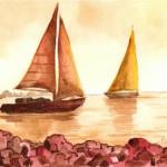 Kihajózás - Balatoni akvarell