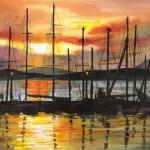 Kikötve - Akvarell
