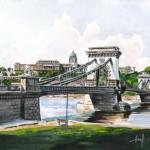 Lánchíd és a Vár - Budapesti akvarell
