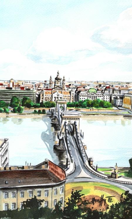 A Lánchíd látképe a Várból - Budapesti akvarell