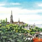Látkép a Mátyás-templommal - Budapest akvarell