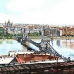 Látkép a Várból - Budapesti akvarell