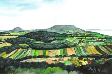 Látkép vulkánokkal - Balatoni akvarell