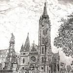 Mátyástemplom - Budapesti rézkarc
