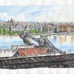 Látkép a budai Várból 2012 - Budapesti akvarell