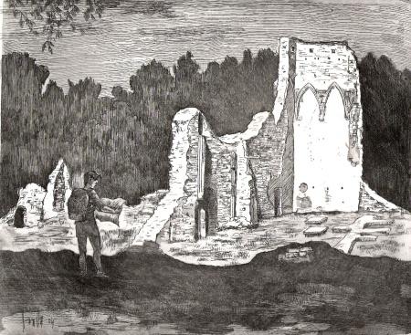 Nagyvázsonyi romok - Balatoni rézkarcok