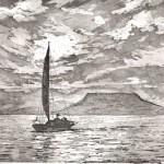 Naplemente vitorláshajóval - Balatoni rézkarc