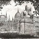 Parlament ás a Rákóczi-szobor - Budapesti rézkarc