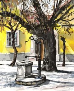 Régi kút - Szentendrei akvarell
