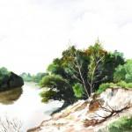 Szakadt Tisza part - Akvarell