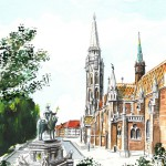 Szent István szobor - Akvarell