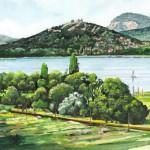 Szigliget látképe - Balatoni akvarell