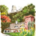 Szigligeti udvar - Balatoni akvarell