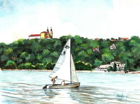 Tihany Földvár felől - Balatoni akvarell