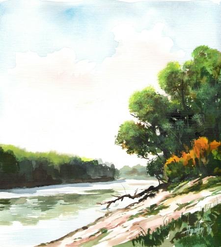 Tisza - Akvarell