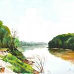 Tiszapart - Akvarell