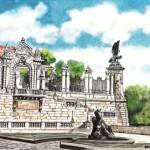 Turul-szobor - Budapesti akvarell