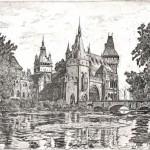 Vajda-Hunyad vára - Budapesti rézkarc