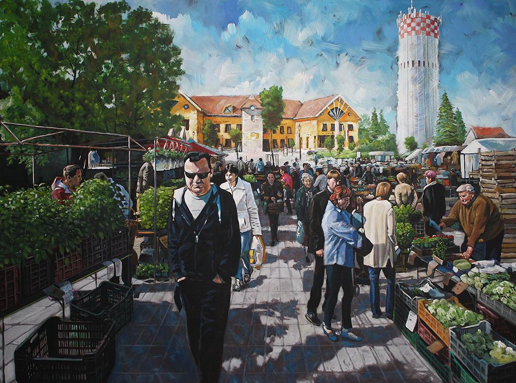 Vecsés market in spring 2015 180cmx130cm