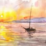 Vitorlás - Balatoni akvarell