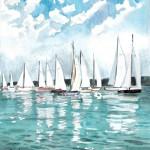 Vitorlásverseny - Balatoni akvarell