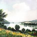 Víztározó látképe - Akvarell